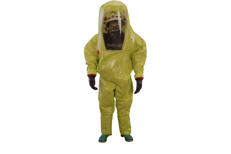 Respirex TYFB Encapsulated Gas Tight Chemical Suit being worn